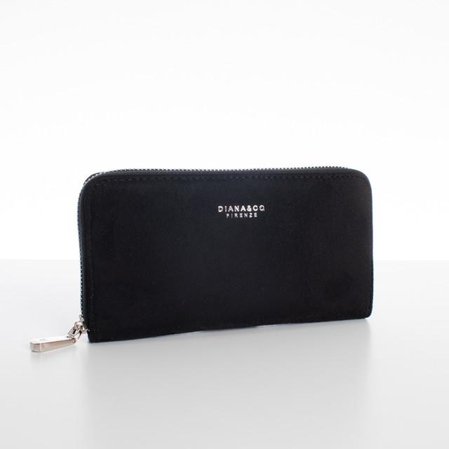 Peňaženka - veľká semišová Diana, čierna