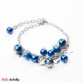 Náramok - perlový so srdiečkami, tmavomodrý