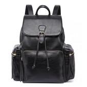 Batoh - vintage, veľký, eko kožený, čierny