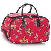 Cestovná taška - motýľová, látková, červená