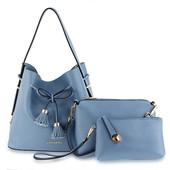 Kabelka - Valenta set s crossbody a peňaženkou, modrý