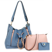Kabelka - Gita set s crossbody a peňaženkou, modrá/ružová
