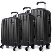 Set kufrov - tri kusy kufrov na cestovanie, unisex, čierny