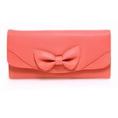 Peňaženka - eko kožená, s mašľou, na cvok, červená