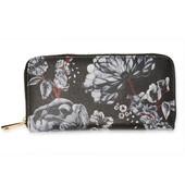 Peňaženka - kvetinová zipsová dámska, čierna/biela