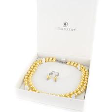 Náhrdelník - shell perlový, dvojradový, P8, zlatožltý