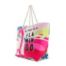 Taška - Pink Flamingo letná na pláž, farebná