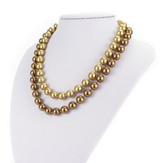Náhrdelník - shell perlový, dvojradový, zlatohnedý