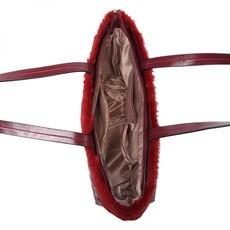 Kabelka - s kožušinkou, prešívaná, na rameno, burgundy