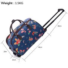 Cestovná taška - motýľová, látková, tmavomodrá