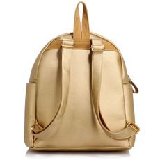 Ruksak - na zips, eko kožený fashion, s doplnkami, zlatý