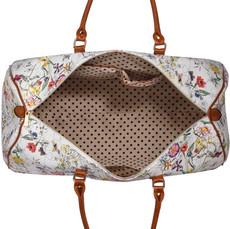 Cestovná taška - kvetinová, víkendová, veľká, biela