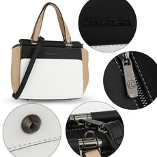 Kabelka - farebná grab elegantná, biela/čierna/telová