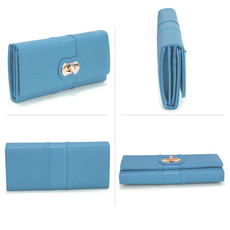 Peňaženka - eko kožená,s otočným zámkom, modrá