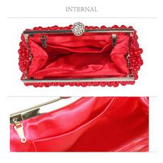Kabelka - perlová, večerná, červená