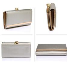 Peňaženka - elegantná, eko kožená, clutch, strieborná