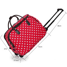 Cestovná taška - veľká cestovná, bodkovaná, červená