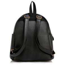 Ruksak - na zips, eko kožený fashion, s doplnkami, čierny