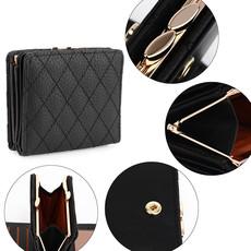 Peňaženka - prešívaná, na mince s doplnkami, čierna