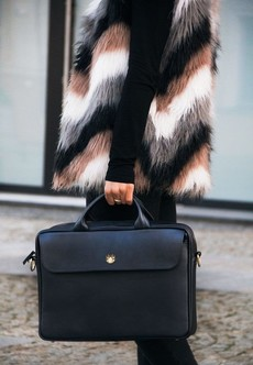 Taška - Sorrento kožená dámska do práce, čierna