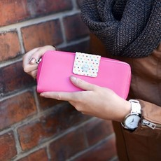 Peňaženka - Tina tansy, dots s bodkami, tmavoružová