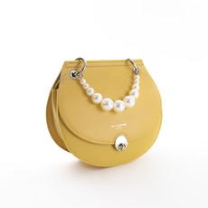 Kabelka - crossbody s perlami DJ, žltá