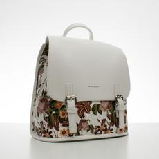 Batoh - kvetinový s prackami, biely