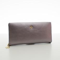 Peňaženka - s remienkom do ruky koženková, strieborná