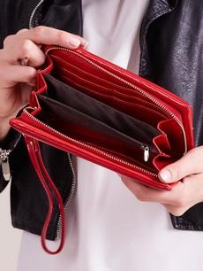 Peňaženka - s remienkom do ruky koženková, červená
