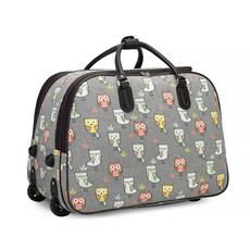 Cestovná taška - detská so sovičkami, šedá