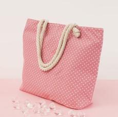 Taška - plážová s bodkami ružová